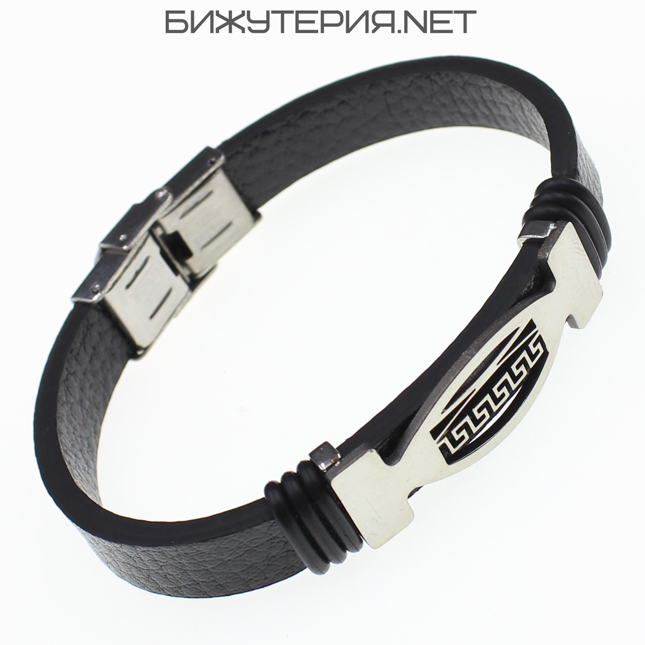Мужской браслет Stainless Steel со вставкой из стали, черный - 1059073239