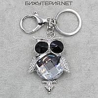 Брелок JB Сова цвет металла серебро с кристаллами и белыми стразами - 1066638088