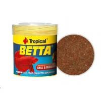 Tropical Betta основной хлопьевидный корм с крилем и мотылем для петушков, 100мл
