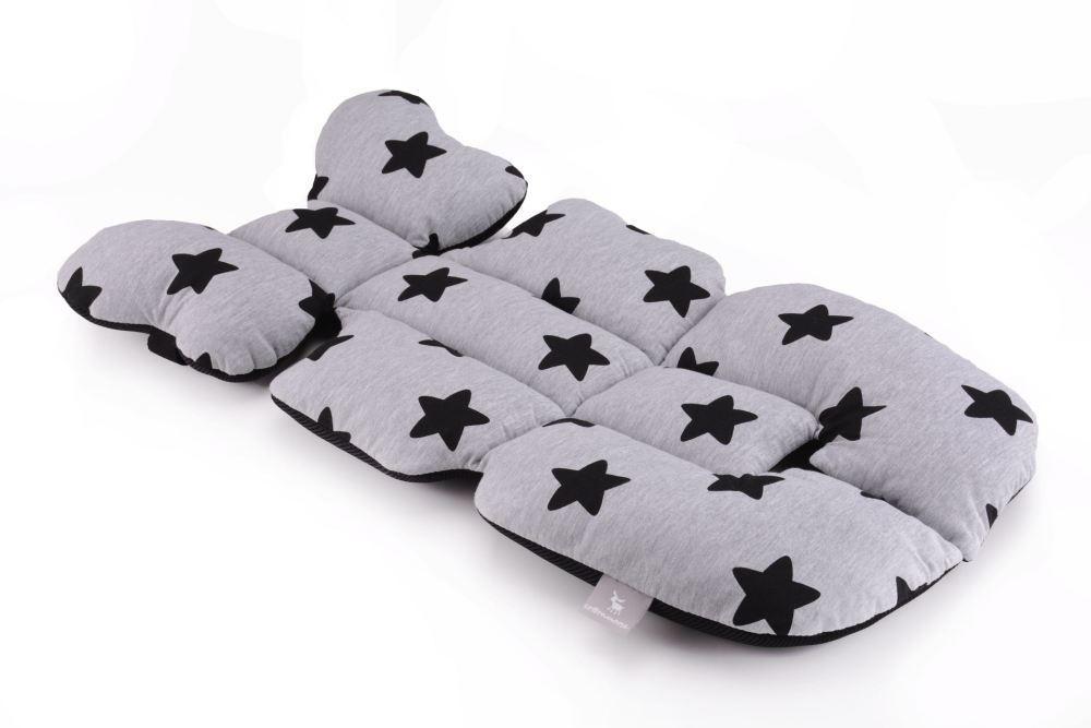 Матрас в коляску и автокресло Cottonmoose Air 828/29/101 black star cotton jersey siatka czarna (серый (черные звезды), черная сетка)