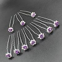 """Шпилька для волос в виде  цветка из страз """"Amber Purple"""" 10 шт"""