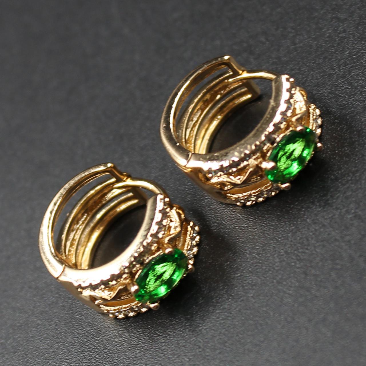 "Серьги женские ""Perizad Green"" Xuping Jewelry (позолота)."