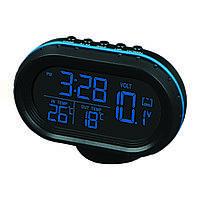Автомобильный термометр вольтметр, часы VST-7009V  (S02001)