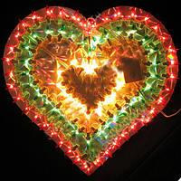 """Новогоднее панно """"Сердце"""" 105 ламп 35 см"""