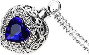Красивый женский кулон из металла в виде сердца с синим камнем!