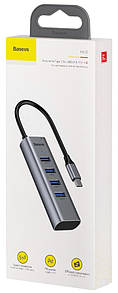 Хаб Baseus Enjoy series Type-C to USB3.0*4+PD HUB adapter (grey) (CAHUB-Q0G)