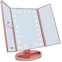 Зеркало для макияжа с подсветкой РОЗОВОЕ Led mirror ставни  (S02705)