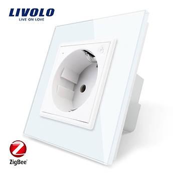WiFi розетка с заземлением Livolo 16А с шторками рамка стекло белый (VL-C7C1EUZ-11)
