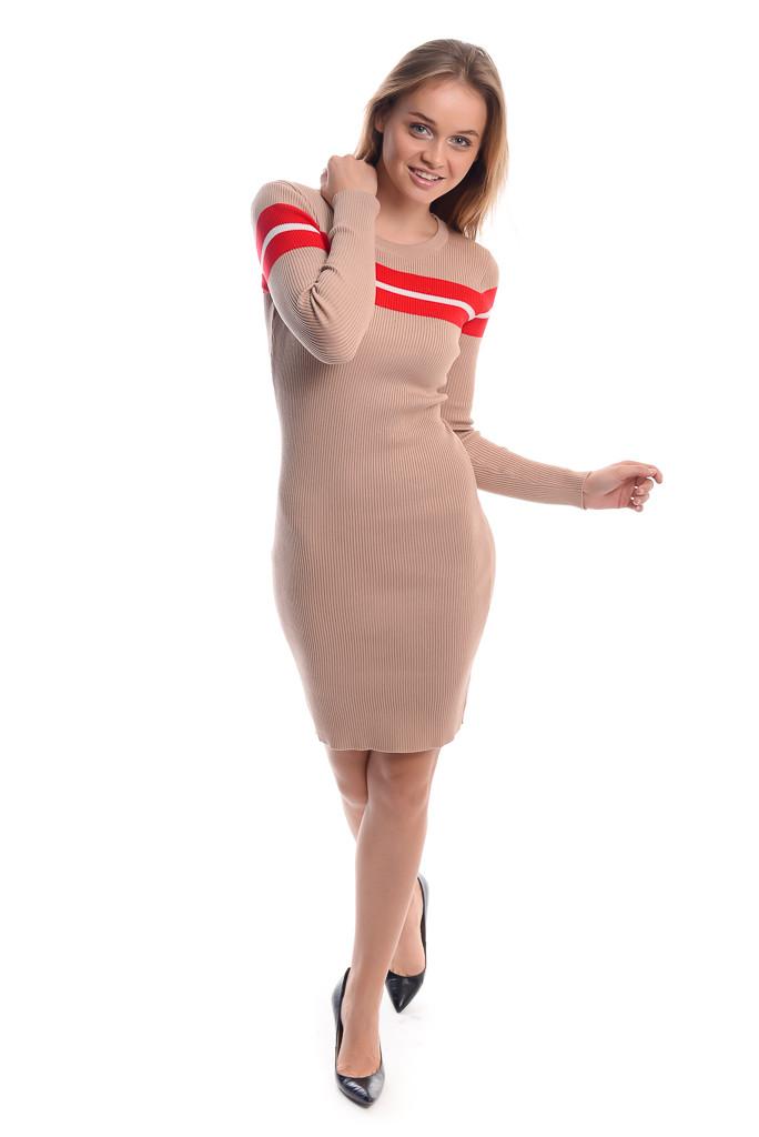 Облегающее платье с красной полоской LUREX - бежевый цвет, XS (есть размеры)
