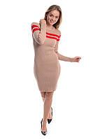 Облегающее платье с красной полоской LUREX - бежевый цвет, XS (есть размеры), фото 1
