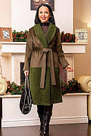 Пальто женское батал замша с ворсом + барашек