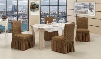 Чехлы на стулья с юбкой трикотаж Altinkoza S.kahve