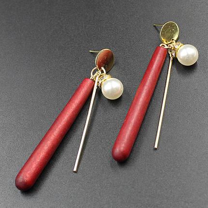 "Серьги женские ""Malefor red"" L - 8 cм, фото 2"