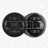 Фары FB-FG40A противотуманные (ПТФ) 90 мм Nissan (прямое стекло) LED с ДХО и указ. пов., 2 шт. (чёрный)