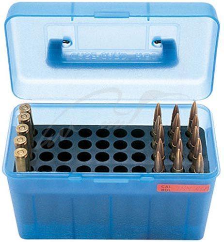 Коробка MTM H50-RS на 50 патронов кал. 222 Rem и 223 Rem. Цвет – голубой.