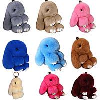 Брелок кролик – модные разноцветные аксессуары в виде зайца и кролика из натурального меха БЕЗ ВЫБОРА ЦВЕТА  (S04660)