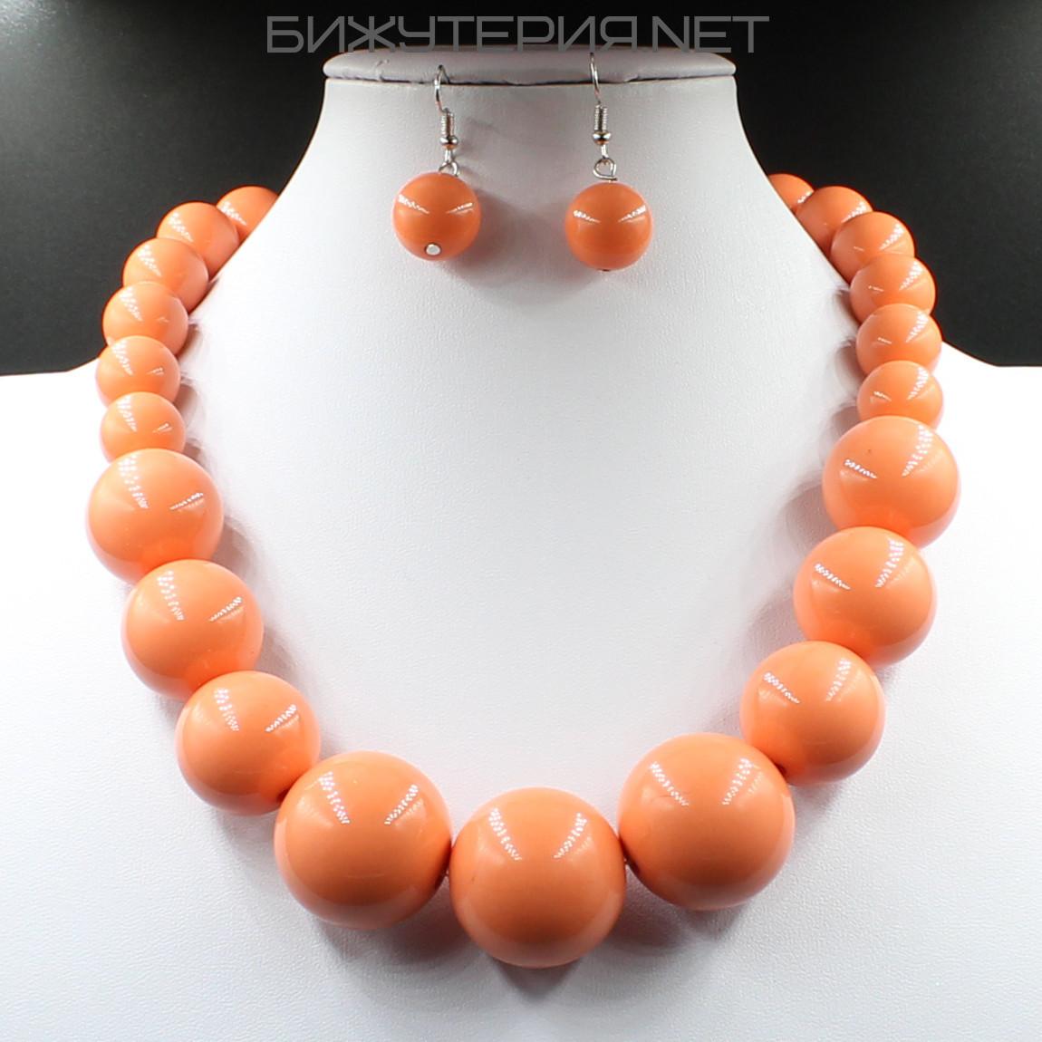 Комплект бижутерии Колье и серьги из искусственного жемчуга оранжевого цвета - 1070350992