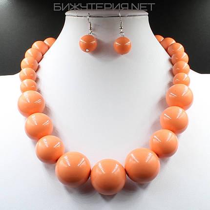 Комплект бижутерии Колье и серьги из искусственного жемчуга оранжевого цвета - 1070350992, фото 2