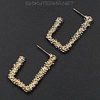 Винтажные серьги JB металлические, эмаль золотого цвета - 1054530890