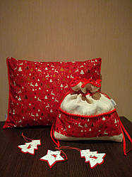 Новорічний комплект декоративна подушка з наволочкою+ екоторбинка