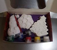 Новогодний набор гипсовых фигурок для творчества. Різдвяний набір гіпсових фігурок для творчості №90