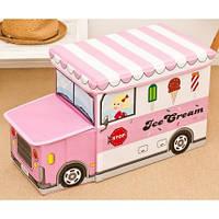 Пуф Короб складной, ящик для игрушек С КАПОТОМ Автобус с Мороженым розовый