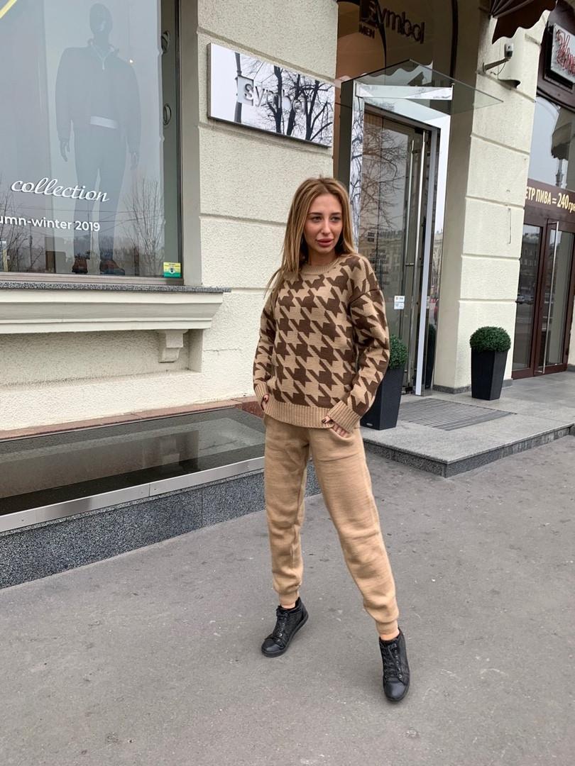 Костюм женский теплый вязаный штаны и кофта шерсть