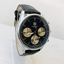 Мужские кварцевые  часы  Carrerai (реплика) Серебро с черным циферблатом