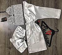 Белый комплект домашней одежды халат+пижама.
