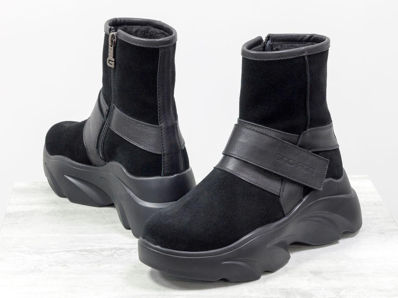 Яркие женские спортивные ботинки на липучке, из натуральной замши и кожи черного цвета