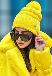 Зимняя шапка из плащевки разных цветов с довязом и помпоном