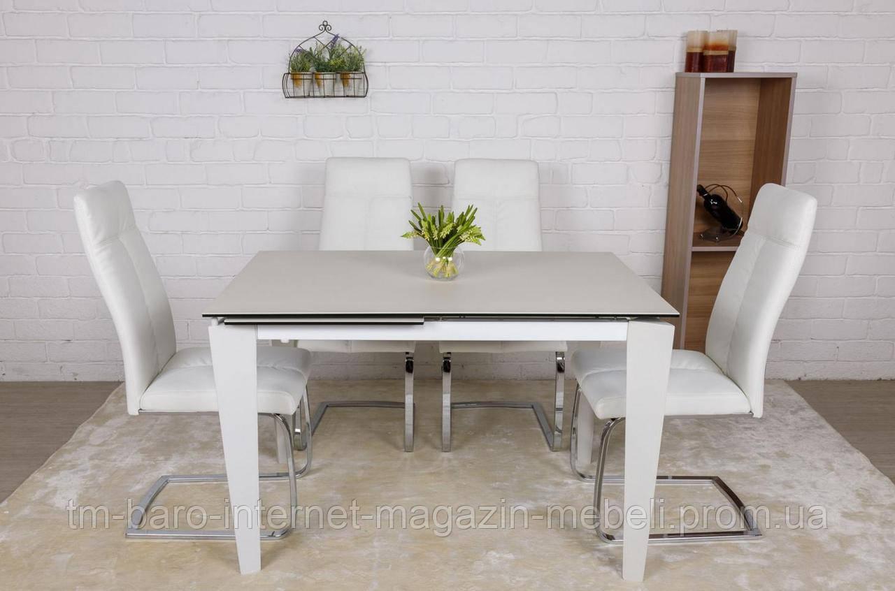 Стол обеденный ALTA (120(+50)*80*76 cm керамика) белый матт, Nicolas