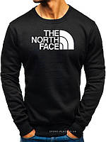 Утепленный мужской свитшот The North Face черный (ЗИМА) с начесом (большая эмблема) реплика