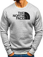 Утепленный мужской свитшот The North Face (ЗИМА) светло серый с начесом (большая эмблема) реплика