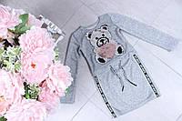 Теплое платье на девочку Мишка паетка  р.104-128, серое