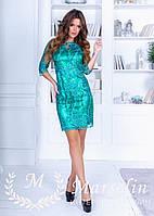 Короткое коктейльное платье с Микро-паеткой S, Зеленый