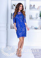 Короткое коктейльное платье с Микро-паеткой S, Синий