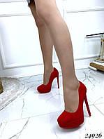 Туфли  женские  красные  на  шпильке  13 см, фото 1