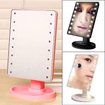 Зеркало для макияжа с подсветкой 16LED настольное для макияжа черное