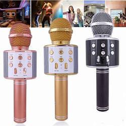 АКЦИЯ! Беспроводной караоке микрофон WS 858 колонка портативный золотой