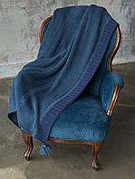Плед шерстяной 130x170 BETIRES BALL NAVY BLUE (50% шерсть, 50% акрил)
