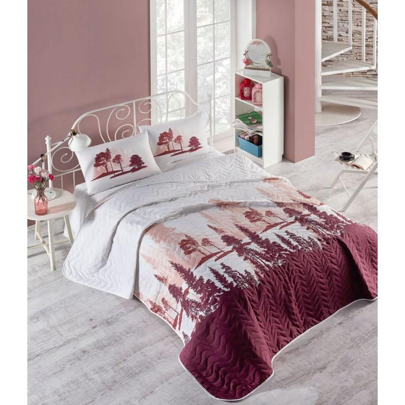 Покрывало 200х220 с наволочками на кровать, диван Лес бордо