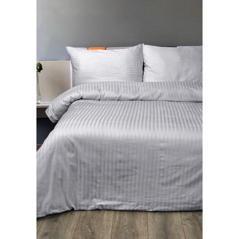 Постельное белье Lotus Отель - Сатин Страйп серый 1*1 семейный (Турция)