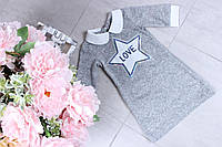 Теплое платье на девочку  Звезда р.104-128, серое