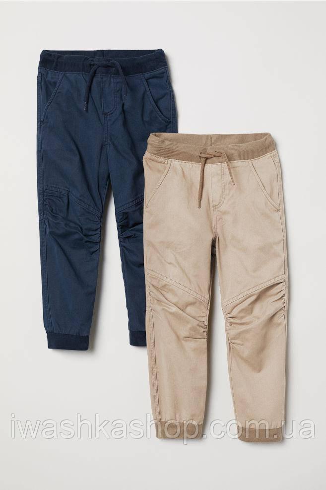 Комплект стильных хлопковых штанов джоггеров на мальчика 8 - 9 лет, р. 134, H&M