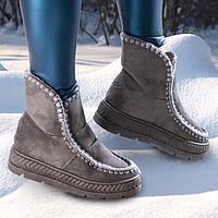 Угги валенки ботинки женские серые 36