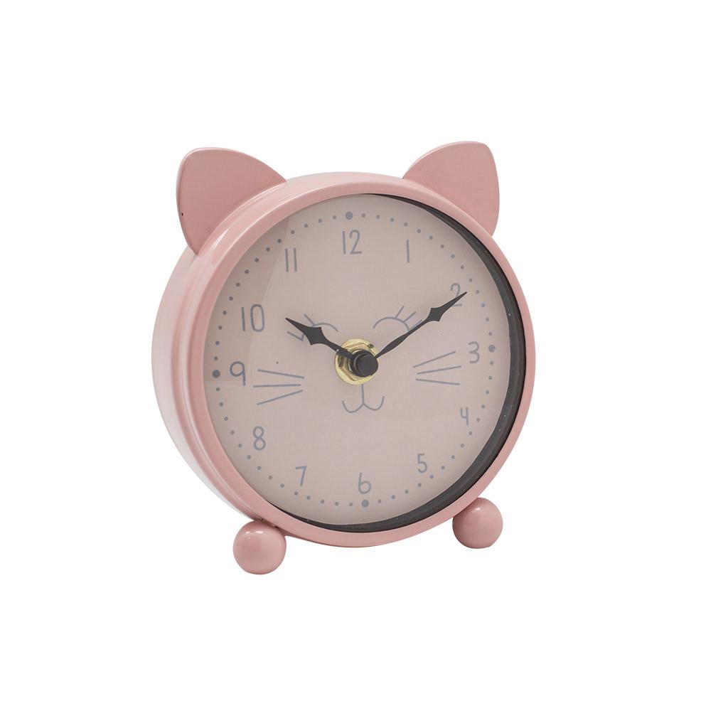 Будильник розовый Cat МДФ 12см  108767