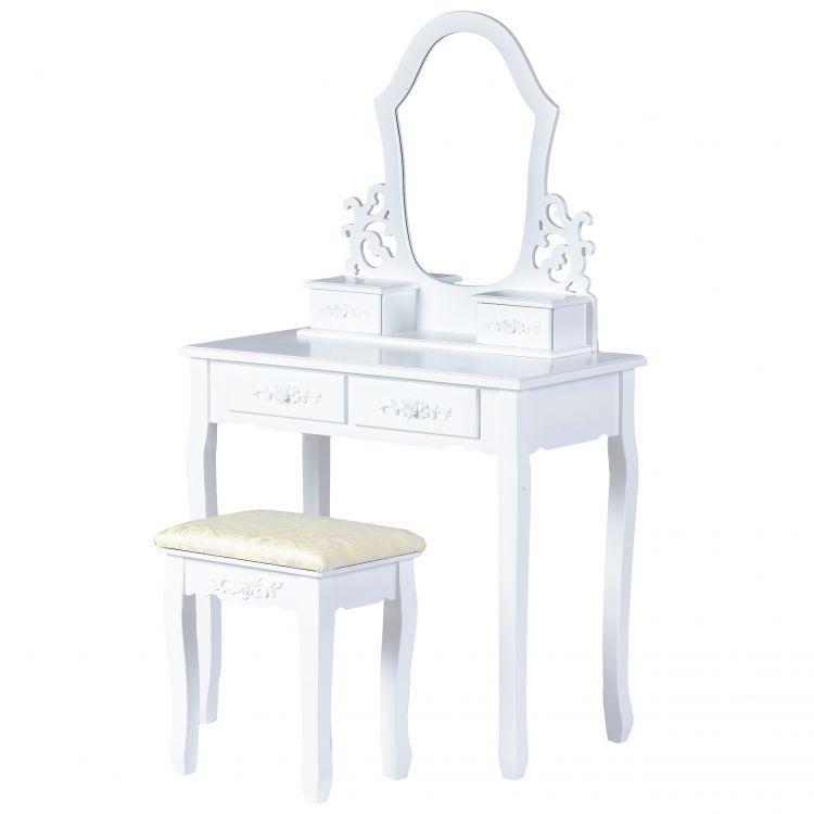 Туалетний столик GoodHome WHY-004 білий з дзеркалом + табурет (9090)