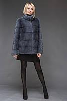 Норковый полушубок 70 см. цвет джинс