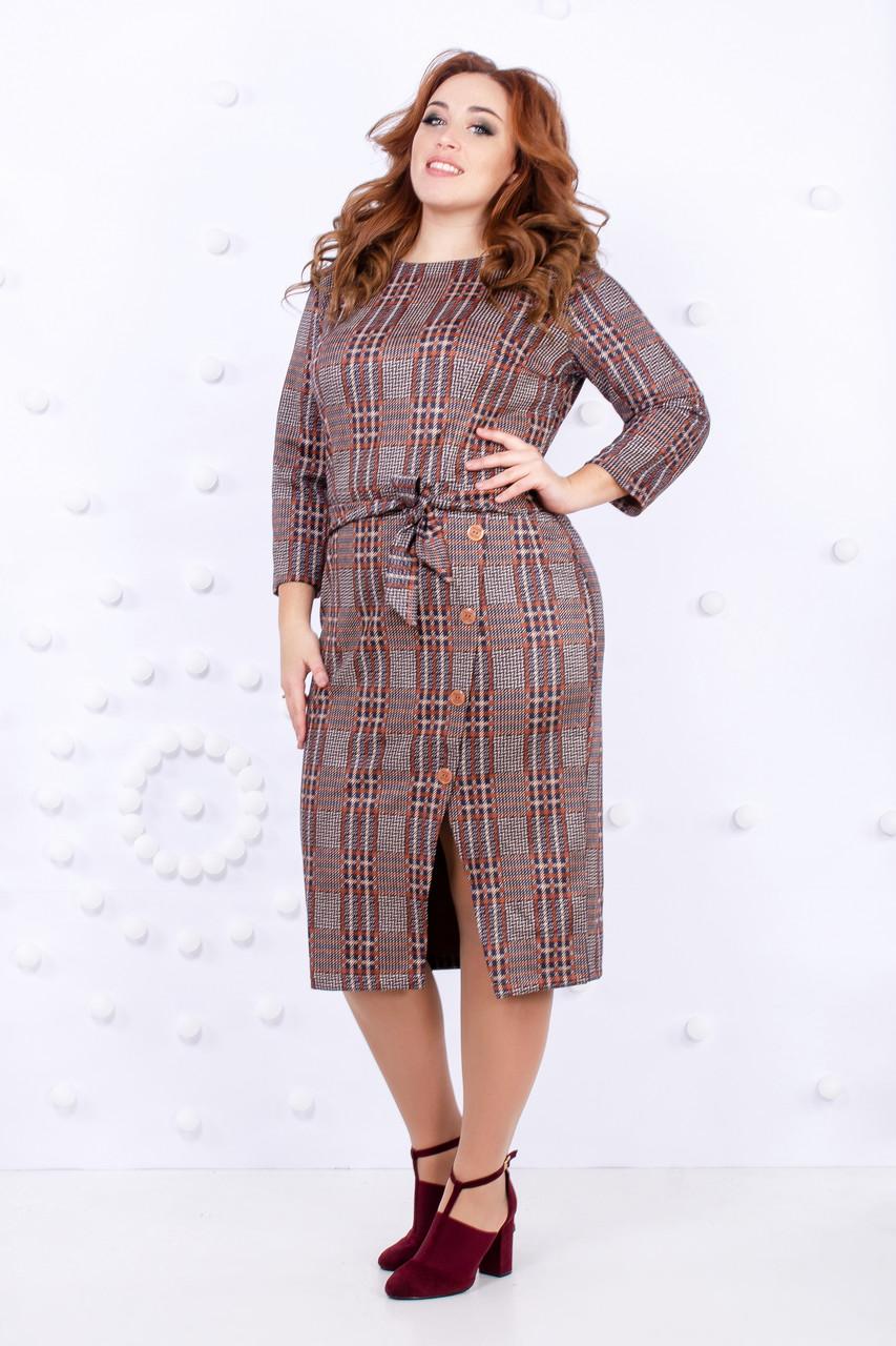 Батальное клетчатое платье с поясом 50-56 р ( разные цвета )